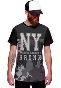 Camiseta Di Nuevo New York Bronx Mafia League Street Wear Camuflada Preta