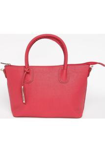 Bolsa Texturizada Com Bag Charm- Vermelha- 24X38X14Cloucos E Santos
