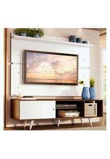 Rack Madesa Dubai E Painel Para Tv Até 65 Polegadas Com Pés - Rustic/Branco 6E09 Marrom