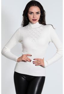 Blusa Tricot Com Pérola Feminina Facinelli