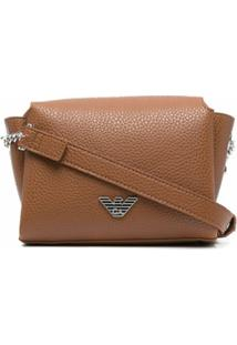 Emporio Armani Logo Plaque Pebbled-Leather Crossbody Bag - Marrom