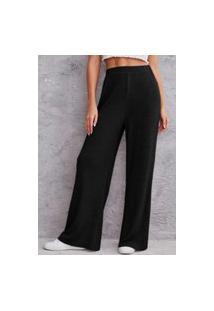 Calça Pantalona Njmix Canelada Cintura Alta