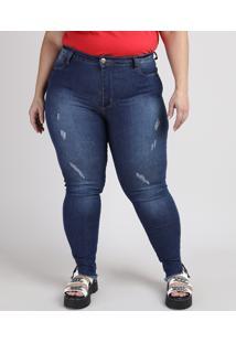 Calça Jeans Feminina Plus Size Sawary Super Skinny Push Up Cintura Alta Com Puídos E Barra Desfiada Azul Escuro