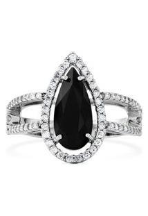 Anel Ouro Branco Quartzo Negro E Diamantes