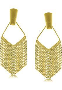 Brinco Franja Em Micro Bolinhas 3Rs Semijoias Dourado