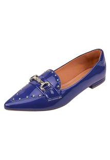 Sapatilha Uzze Sapatos Bico Fino Tacha Azul