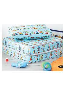 Puff Infantil Com Travesseiro Fibras Siliconadas 100% Algodáo Antialérgico Multiuso 3 Em 1 Estampado At.Home