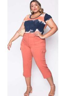 Calça Almaria Plus Size Melonica Pantacourt Lisa L