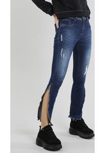 Calça Jeans Feminina Sawary Cigarrete Com Puídos E Zíper Azul Escuro
