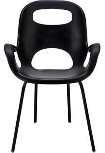 Cadeira Em Polipropileno Com Braço Oh Chair Preta