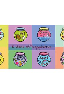 """Tapete Transfer """"8 Vars Of Happiness""""- Amarelo & Rosa"""