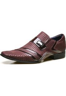 Sapato Social Em Couro Com Textura Bordô