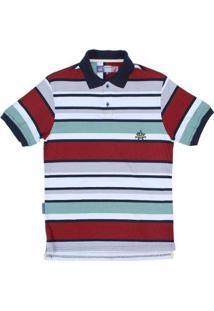 Camisa Polo Listrada Rodeo Western Masculina - Masculino-Branco