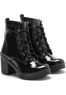 Bota Feminina Tratorada Ded Calçados Ankle Boots Com Cardaço E Zíper Lateral - Feminino-Preto