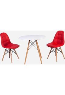 Conjunto Mesa Eiffel Branca 90Cm + 2 Cadeiras Dkr Charles Eames Wood Estofada Botonê - Vermelha