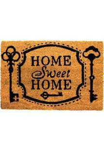 Capacho Em Fibra De Coco Home Sweet Home 40X60Cm Natural E Preto