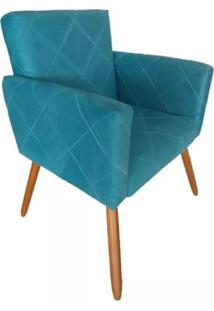 Poltrona Decorativa Pés Palito Nina Estilo Costura Azul - Ds Móveis - Kanui