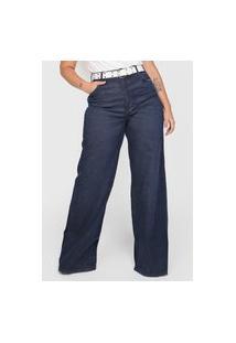 Calça Jeans Colcci Pantalona Estonada Azul-Marinho