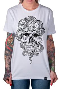 Camiseta Artseries Crânio Com Cobra Stupid Man Branco
