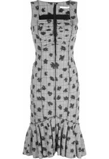 Jason Wu Collection Vestido Com Estampa Xadrez E Floral - Preto