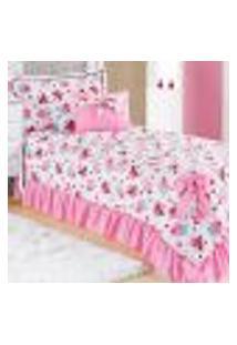 Jogo Cobre Leito Solteiro Infantil Rosa Estampado Cupcake Matelado 4 Peças Com Almofada Decorativa