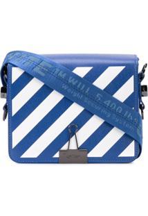 Off-White Diagonal Stripe Crossbody Bag - Azul