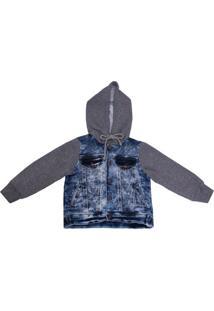 Jaqueta Molecotton Jeans - 1Mais1 - Masculino-Azul