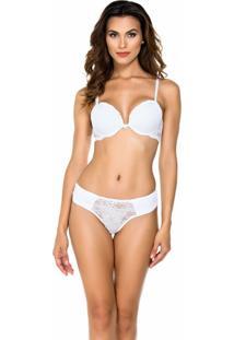 Conjunto De Lingerie Rara Moda Íntima Drapeado Branco