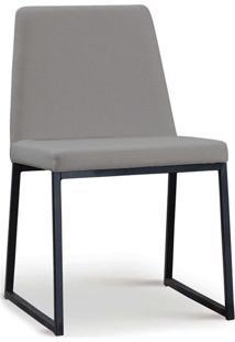 Cadeira Yanka Aço Preto Linho Cinza Daf