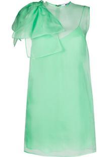 Msgm Vestido Sem Manga Com Laço No Ombro - Verde