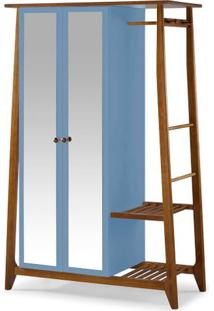 Armario Multiuso Stoka 2 Portas Azul Claro Estrutura Amendoa 169Cm - 60976 - Sun House