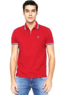 Camisa Polo Cavalera Zíper Vermelha