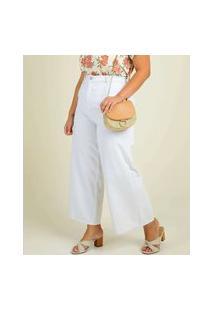 Calça Plus Size Feminina Sarja Pantacourt Wide Leg