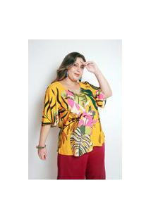 Blusa Estampada Plus Size Folhas Mil Amarela