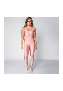 Macacão Rosê Com Tela Feminino Água E Luz