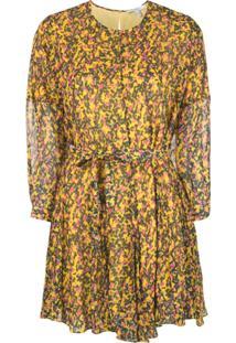 Derek Lam 10 Crosby Printed Belted Mini Dress - Amarelo
