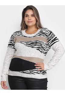 Tricô Ana Gonçalves Plus Size Zebra Feminino - Feminino-Preto+Bege