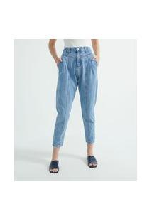 Calça Mom Jeans Com Pregas E Recortes Frontais