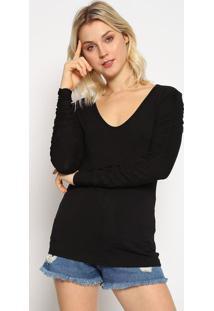 Blusa Lisa Com Franzidos - Preta - Colccicolcci