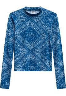 Blusa Lecimar Em Viscose Com Elastano Outono Inverno Manga Longa Azul