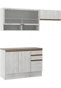 Cozinha Compacta 4 Portas 3 Gavetas Itália A2191 Casamia Snow/Snow