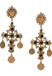 Dolce & Gabbana Par De Brincos Com Crucifixo - Dourado