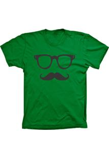 Camiseta Lu Geek Manga Curta Mustache Verde