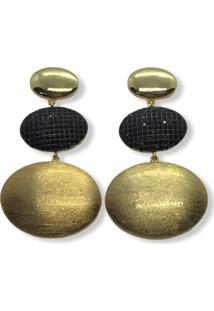 Brinco Narcizza Triplo Oval Liso E Escovado Com Zircônia Onix Banhado No Ouro - Kanui