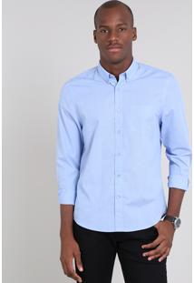 Camisa Masculina Comfort Estampada Mini Print Xadrez Com Bolso Manga Longa Azul Claro