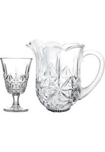 Conjunto 7 Peças De Vidro 1 Jarra 1,3Ml E 6 Taças 240Ml Iceland-Bon Gourmet - Transparente