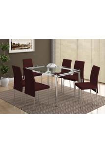 Conjunto Mesa 346 Com Vidro Incolor Cromada Com 6 Cadeiras 306 Cromada/Cacau Carraro