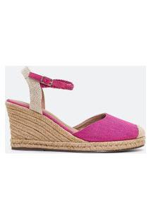 Sapato Espadrille Salto Anabela Detalhe Corda Satinato | Satinato | Pink | 35
