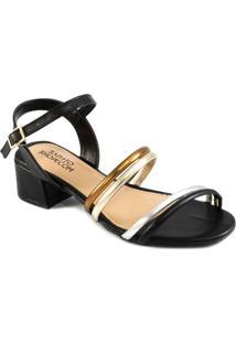 Sandália Salto Bloco Tiras Metalizadas Sapato Show 13096