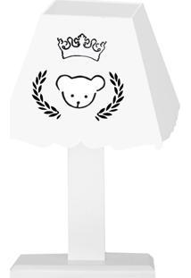 Abajur Urso Coroa Mdf - Branco - Ursinhos